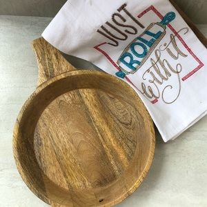 "Other - Wooden Decorative Tray with Towel Set. 12"" size."
